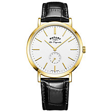 Buy Rotary GS90190/02 Men's Les Originales Leather Strap Watch, Black/White Online at johnlewis.com