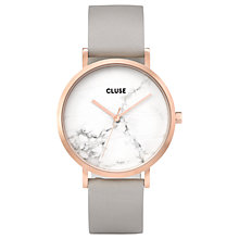 Buy CLUSE CL40005 Women's La Roche Leather Strap Watch, Grey/White Online at johnlewis.com