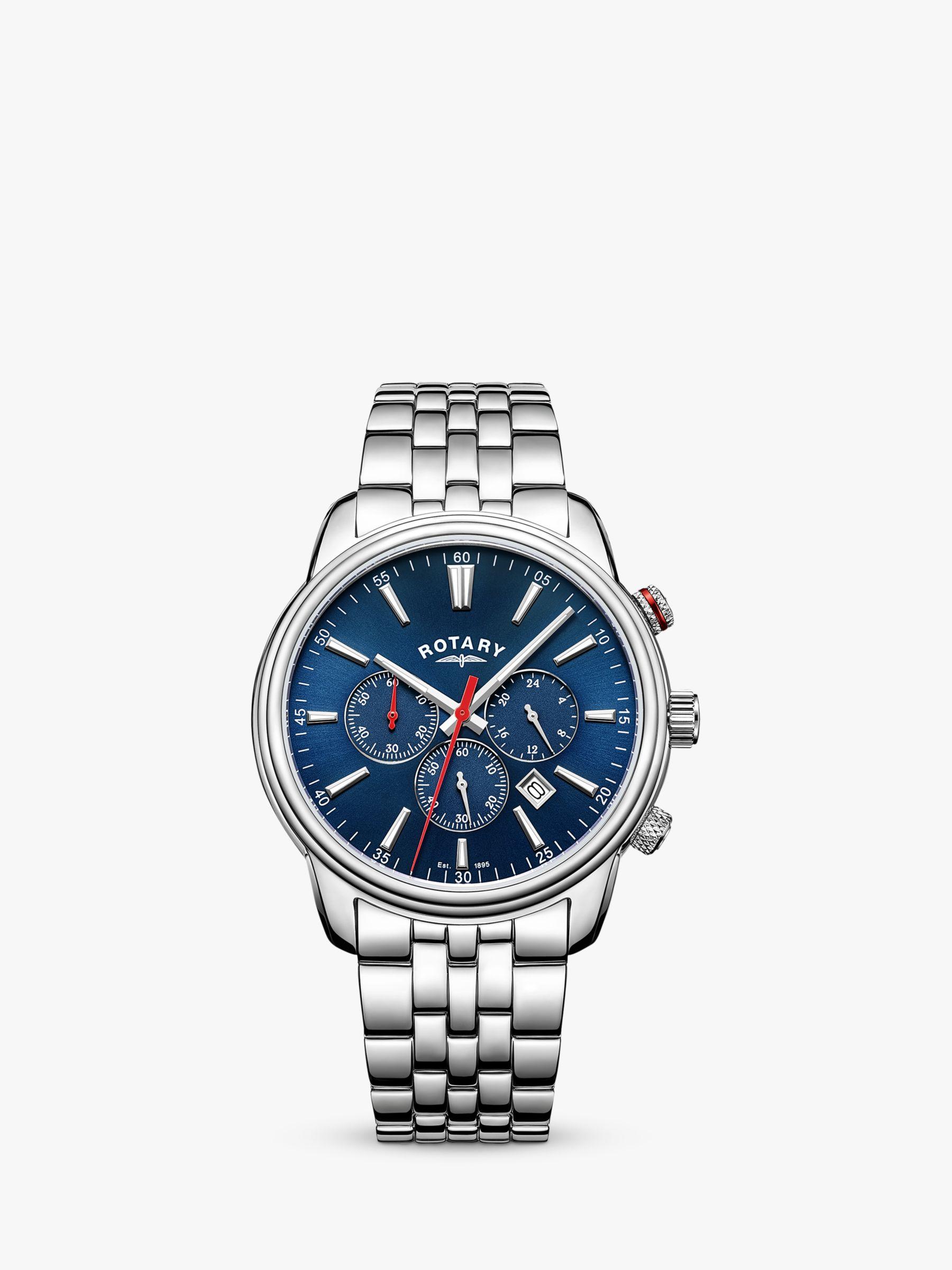 Rotary Rotary GB05083/05 Men's Monaco Chronograph Date Bracelet Strap Watch, Silver/Blue