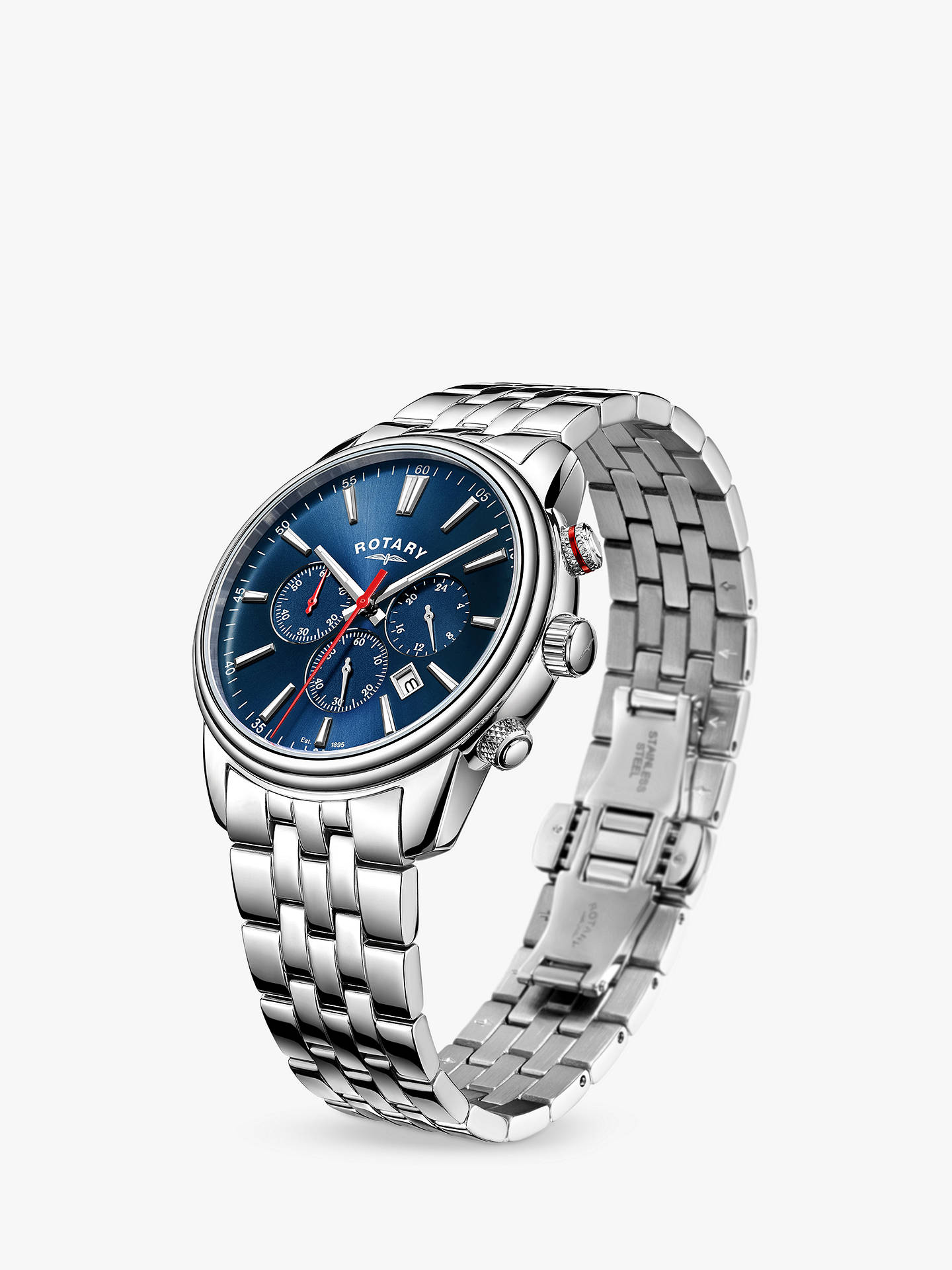 BuyRotary GB05083/05 Men's Monaco Chronograph Date Bracelet Strap Watch, Silver/Blue Online at johnlewis.com