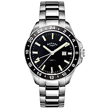 Buy Rotary GB05017/04 Men's Havana Date Bracelet Strap Watch, Silver/Black Online at johnlewis.com