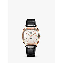 Buy Rotary GS05309/01 Men's Windsor Leather Strap Watch, Black/White Online at johnlewis.com