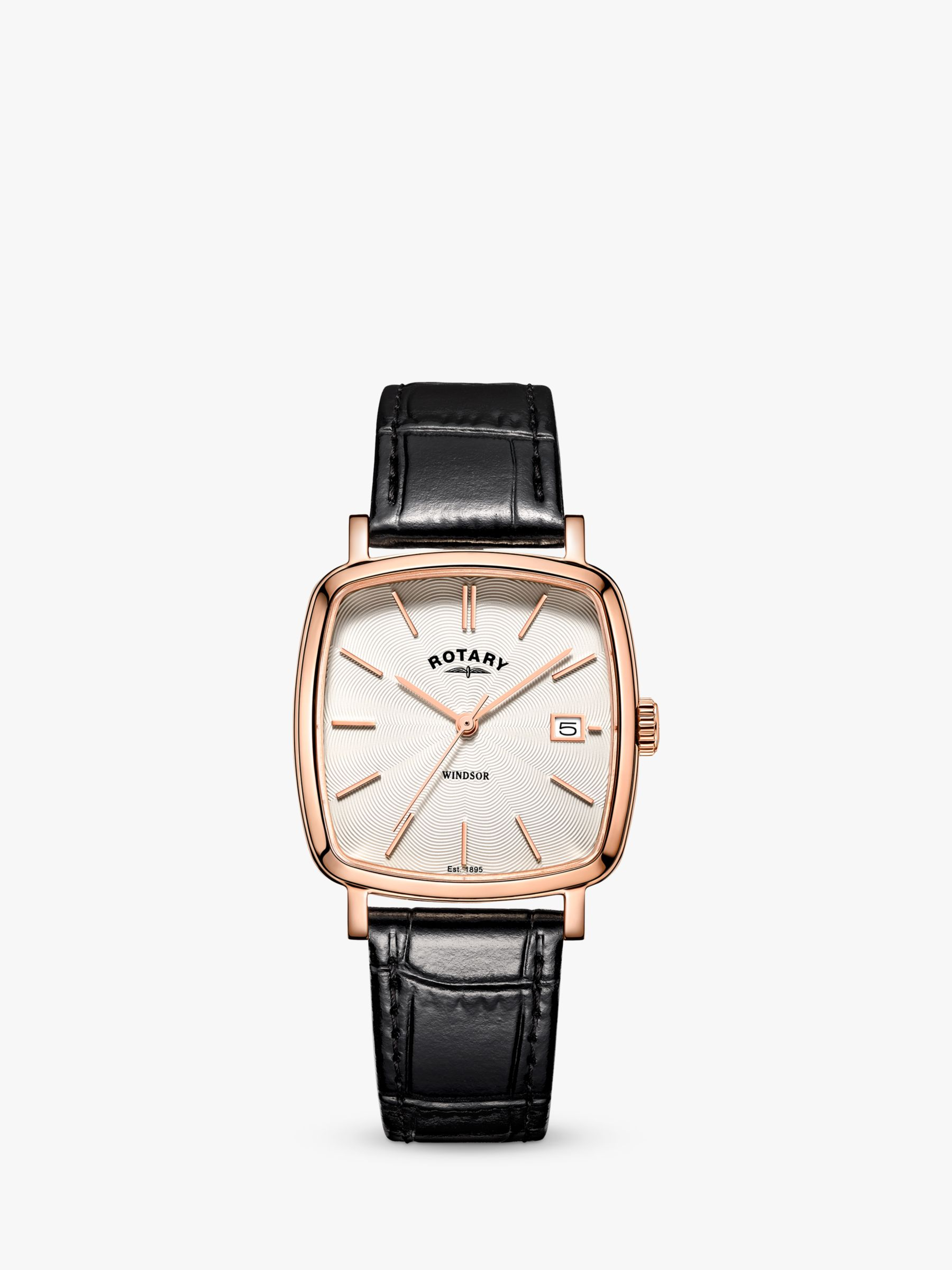 Rotary Rotary GS05309/01 Men's Windsor Leather Strap Watch, Black/White
