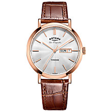Buy Rotary GS90157/02 Men's Les Originales Windsor Day Date Leather Strap Watch, Tan/Silver Online at johnlewis.com