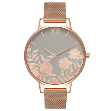 Buy Olivia Burton OB16MV65 Women's Lace Detail Bracelet Strap Watch, Rose Gold/Grey Online at johnlewis.com