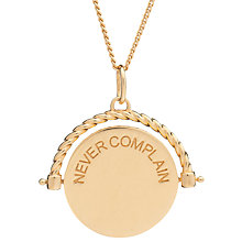 Buy Rachel Jackson London Never Complain Never Explain Spinning Disc Pendant Necklace Online at johnlewis.com