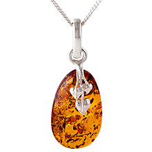 Buy Be-Jewelled Amber Leaf Motif Pendant Necklace, Cognac Online at johnlewis.com