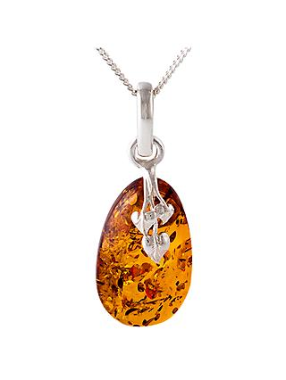 Be-Jewelled Amber Leaf Motif Pendant Necklace, Cognac
