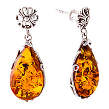 Buy Be-Jewelled Teardrop Amber Drop Earrings, Cognac Online at johnlewis.com