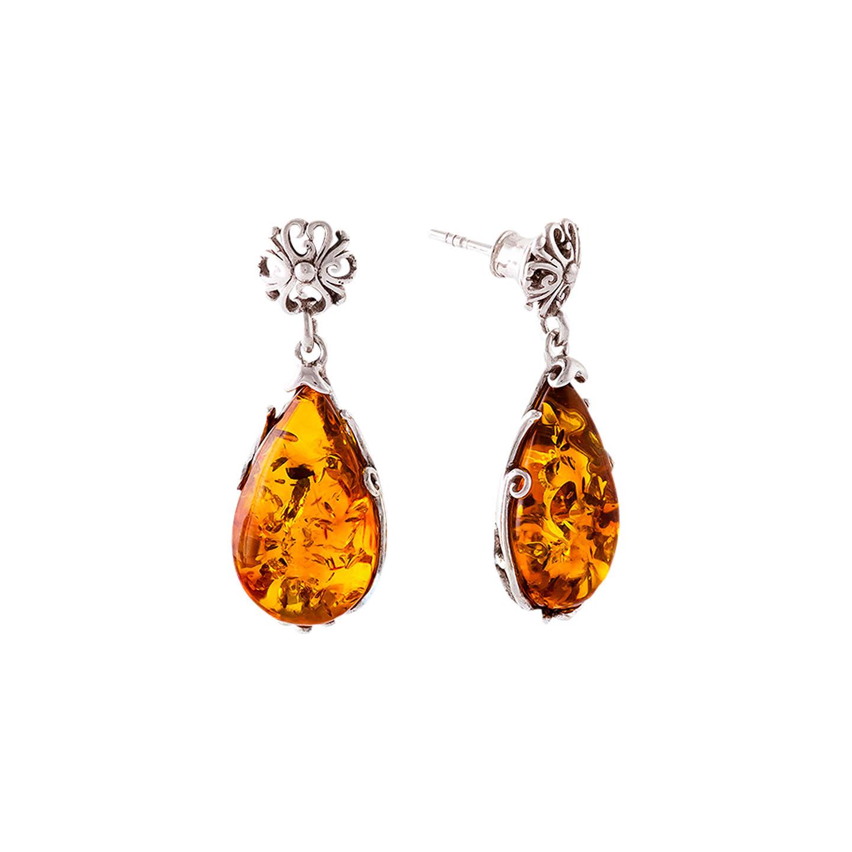 Be Jewelled Teardrop Amber Drop Earrings Cognac Online At Johnlewis