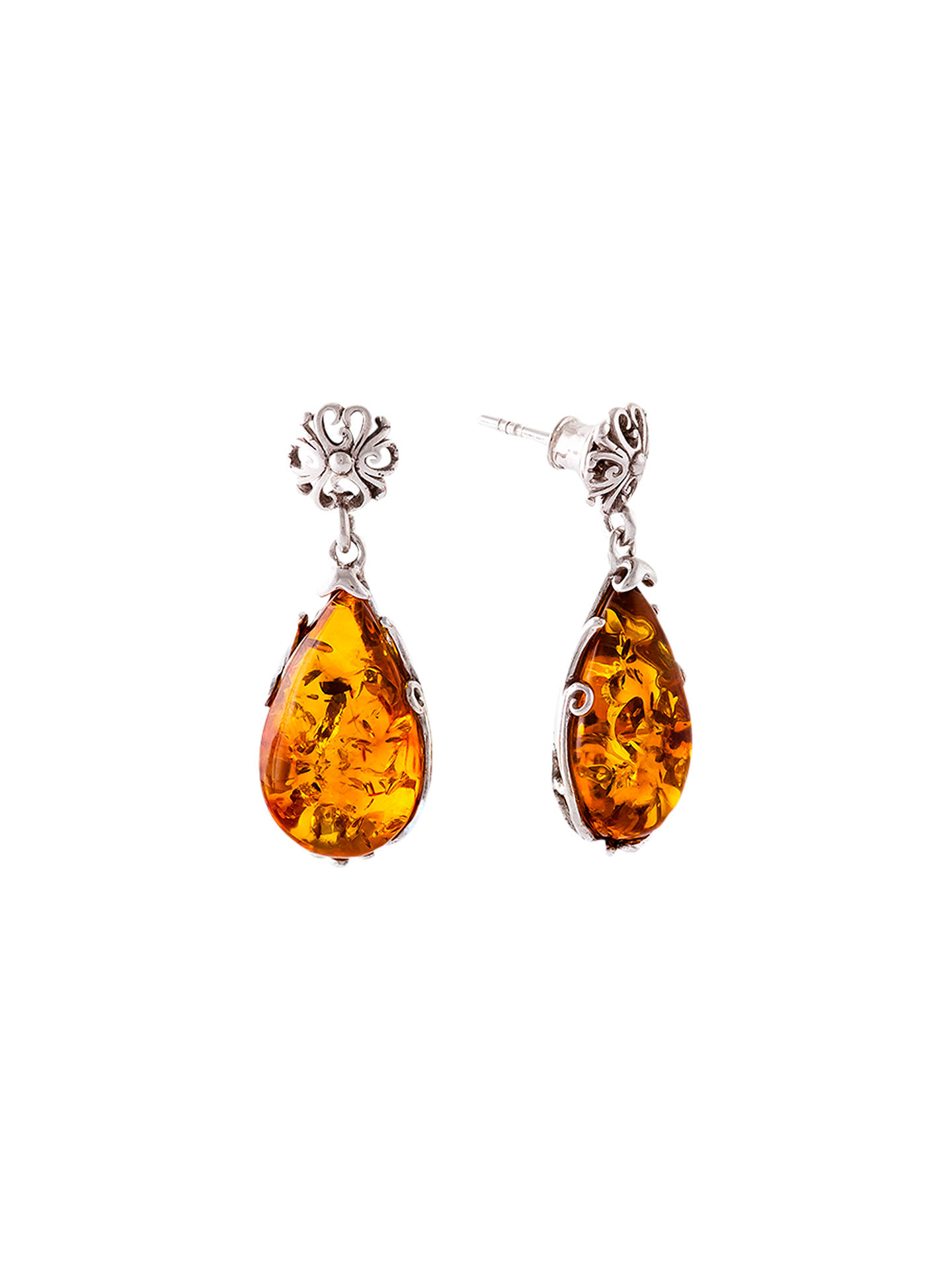 BuyBe-Jewelled Teardrop Amber Drop Earrings, Cognac Online at johnlewis.com
