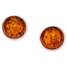 Buy Be-Jewelled Amber Round Stud Earrings, Cognac Online at johnlewis.com