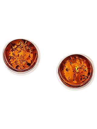 Be-Jewelled Amber Round Stud Earrings, Cognac