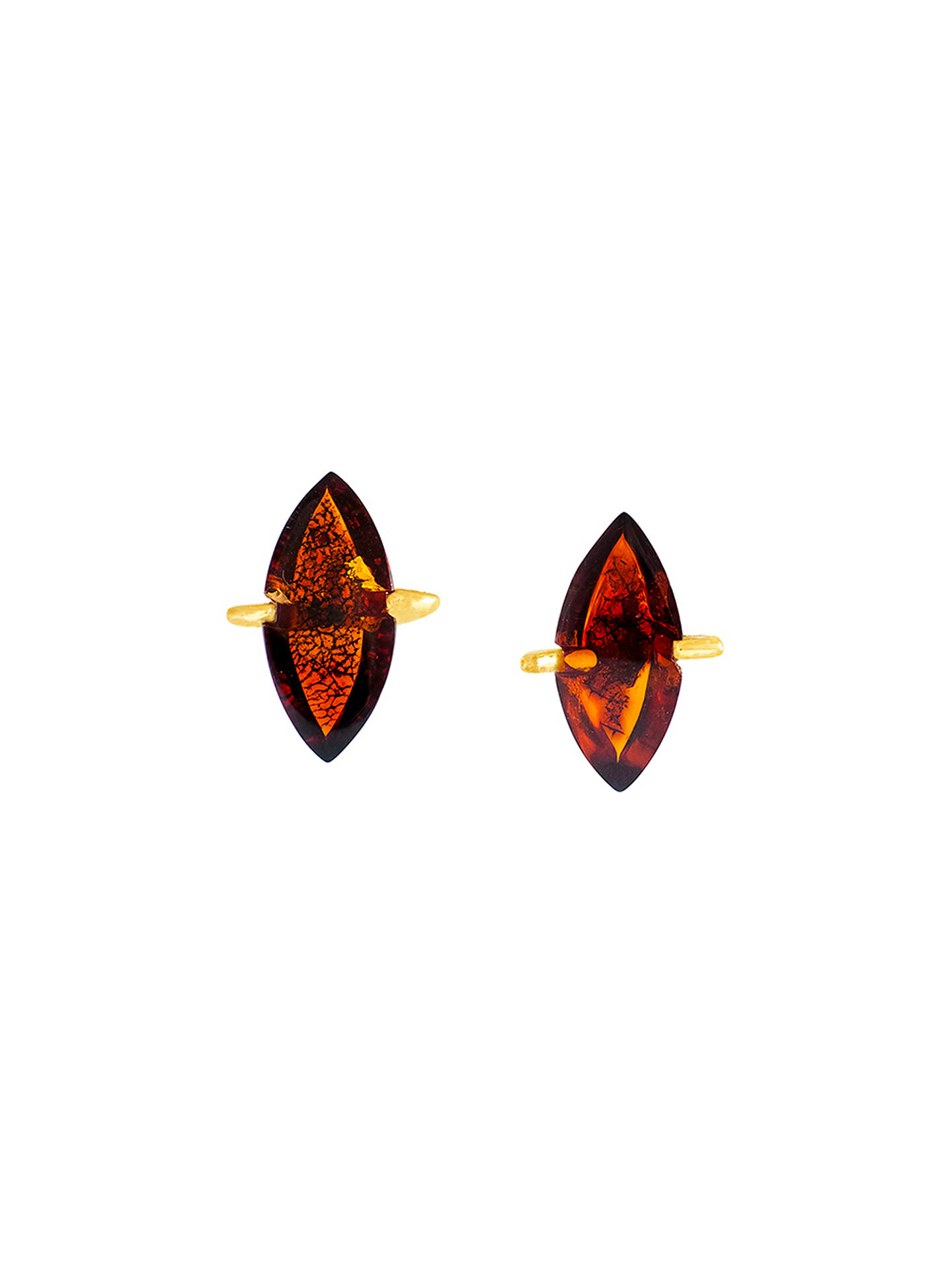 Buy Be-Jewelled Marquise Amber Stud Earrings, Cognac Online at johnlewis.com