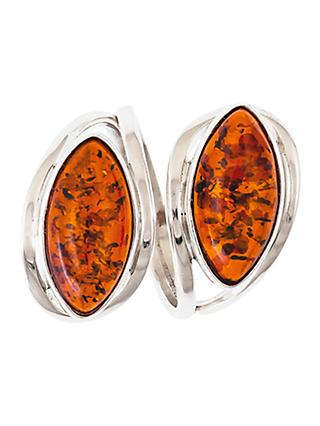 Be-Jewelled Double Navette Amber Ring, Cognac