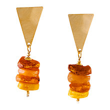 Buy Be-Jewelled Amber Triangle Drop Earrings, Gold/Cognac Online at johnlewis.com