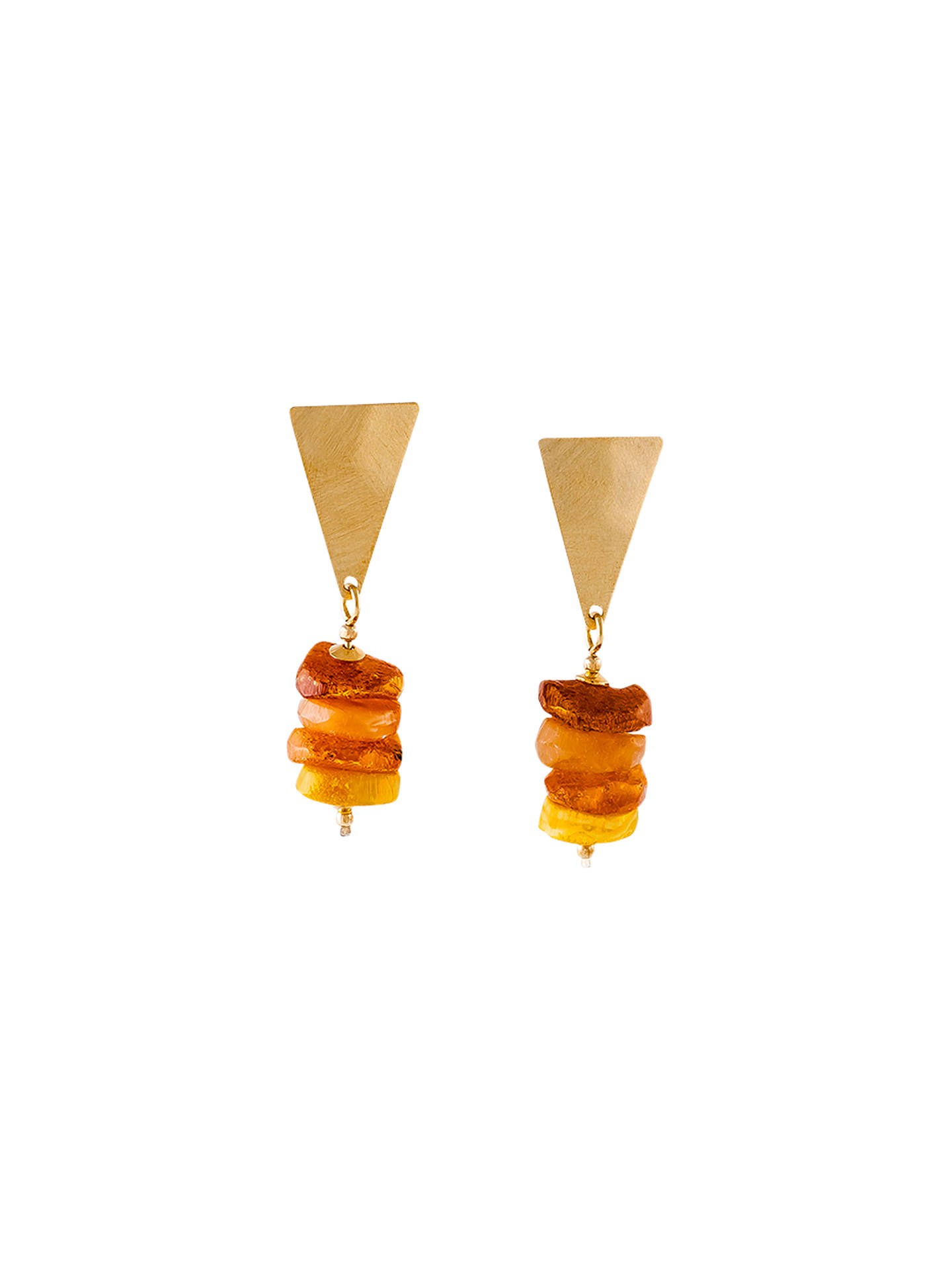 BuyBe-Jewelled Amber Triangle Drop Earrings, Gold/Cognac Online at johnlewis.com