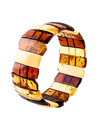 Be-Jewelled Amber Stretch Cuff, Cognac/Multi