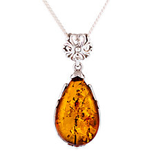 Buy Be-Jewelled Amber Pear Shape Pendant Necklace, Cognac Online at johnlewis.com