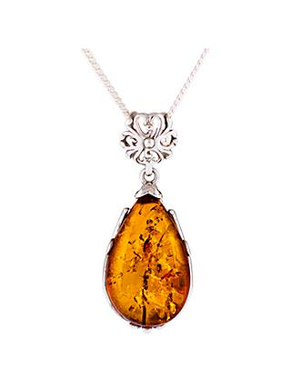 Be-Jewelled Amber Pear Shape Pendant Necklace, Cognac