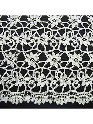 Carrington Fabrics Clare Embellished Lace Fabric, Ivory