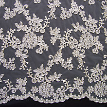 Buy Carrington Fabrics Patricia Bridal Lace Fabric, Silver/Ivory Online at johnlewis.com