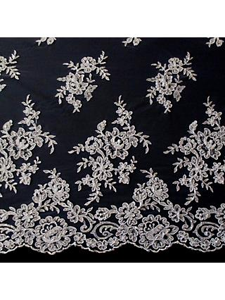 Carrington Fabrics Naomi Bead Bridal Lace Fabric, Ivory/Black