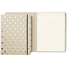 Buy kate spade new york Polka Dot Linen Notepad Folio, Gold Online at johnlewis.com