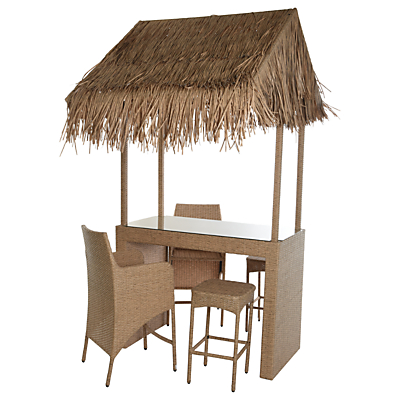 Wicker Rattan Bar With 2 Stools & 2 Chairs
