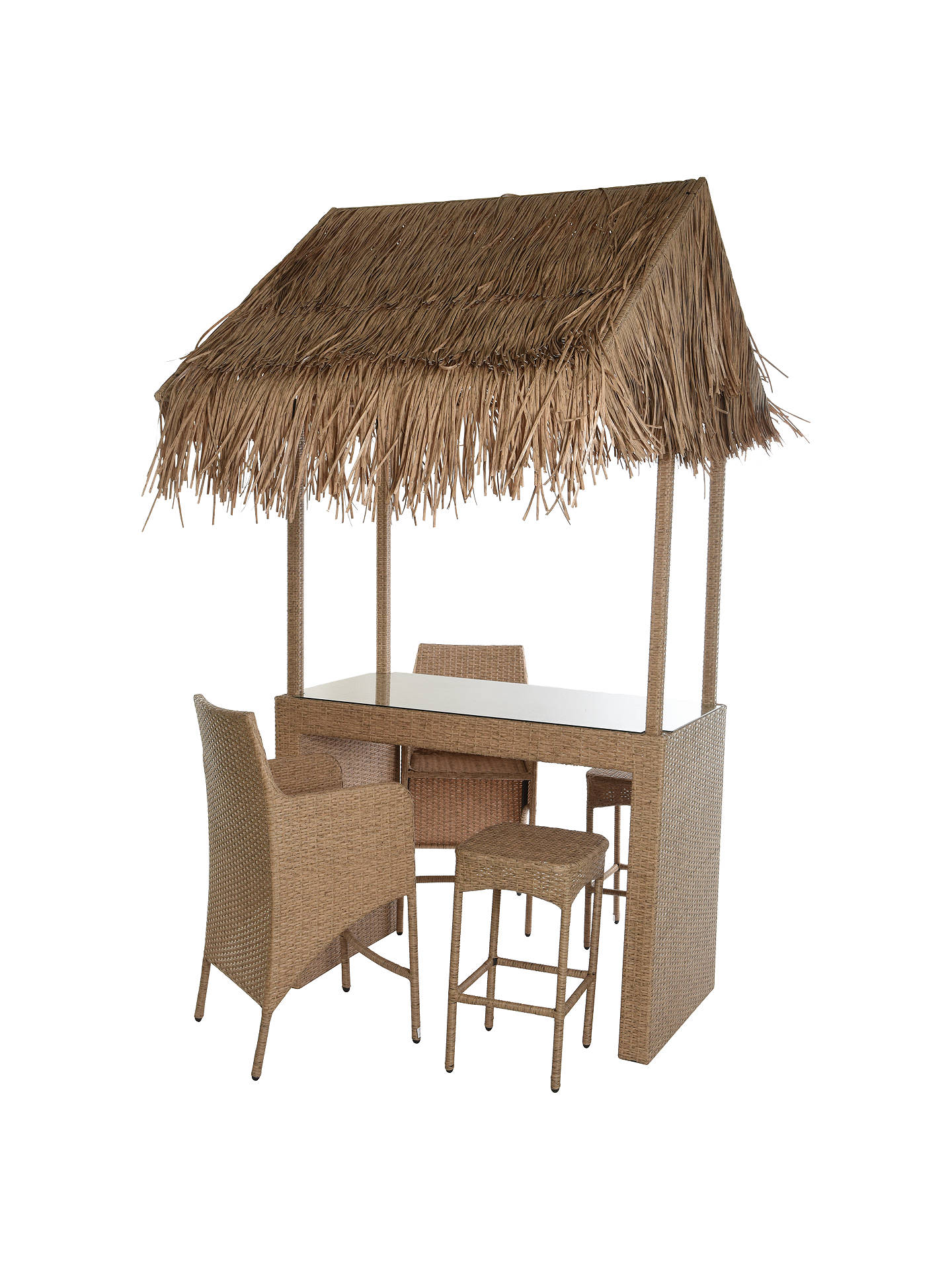 BuyWicker Rattan Tiki Bar With 2 Stools & 2 Chairs Online at johnlewis.com