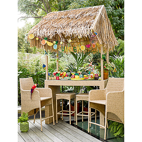 Buy Wicker Rattan Tiki Bar With 2 Stools Amp 2 Chairs John