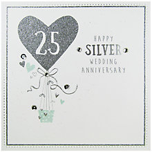 Buy Carte Blanche Silver Anniversary Greeting Card Online at johnlewis.com