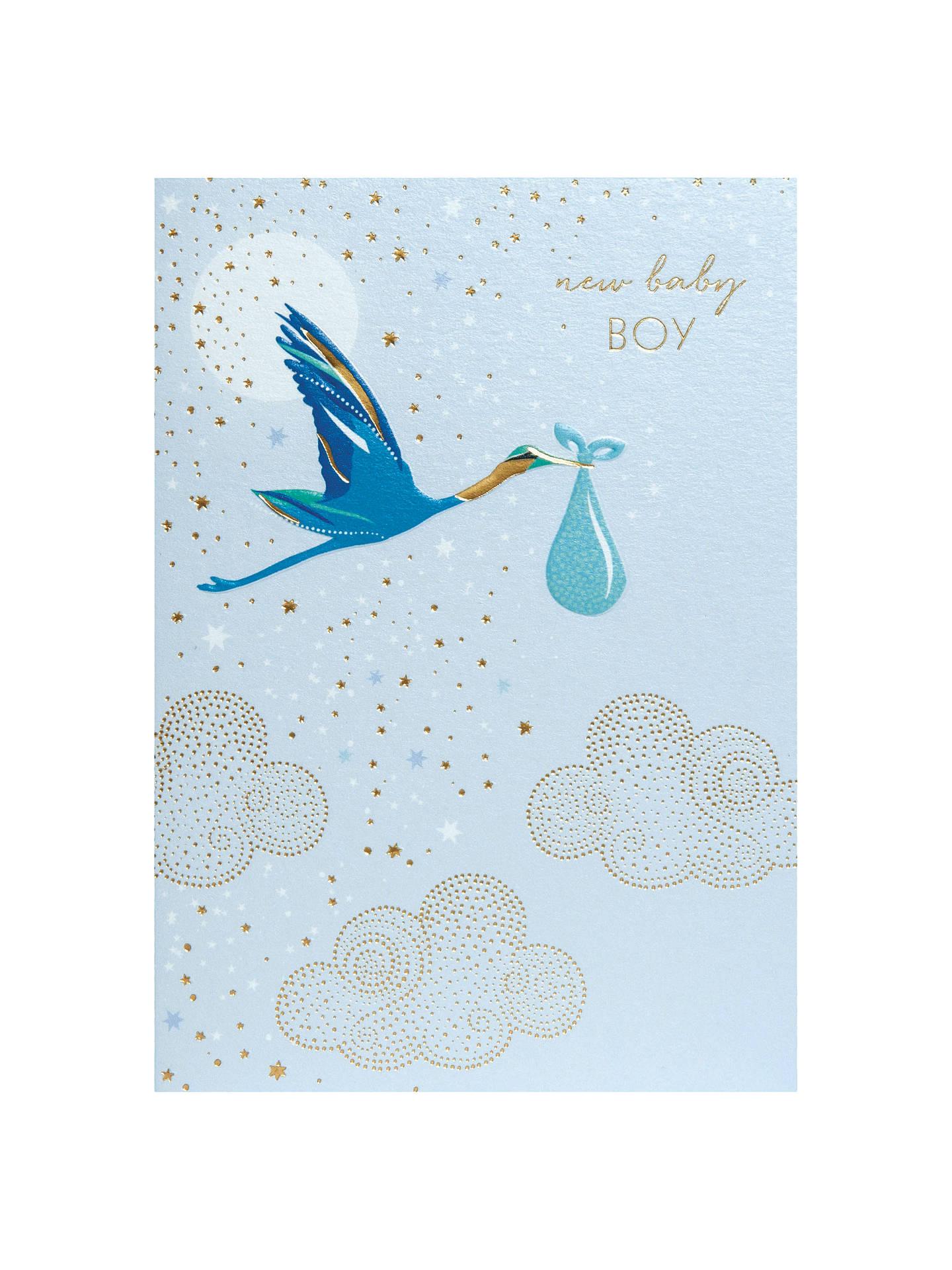 Sara Miller New Baby Boy Stork Greeting Card At John Lewis Partners