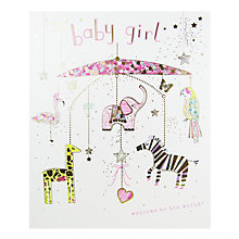 Buy Woodmansterne Mobile Baby Girl Greeting Card Online at johnlewis.com