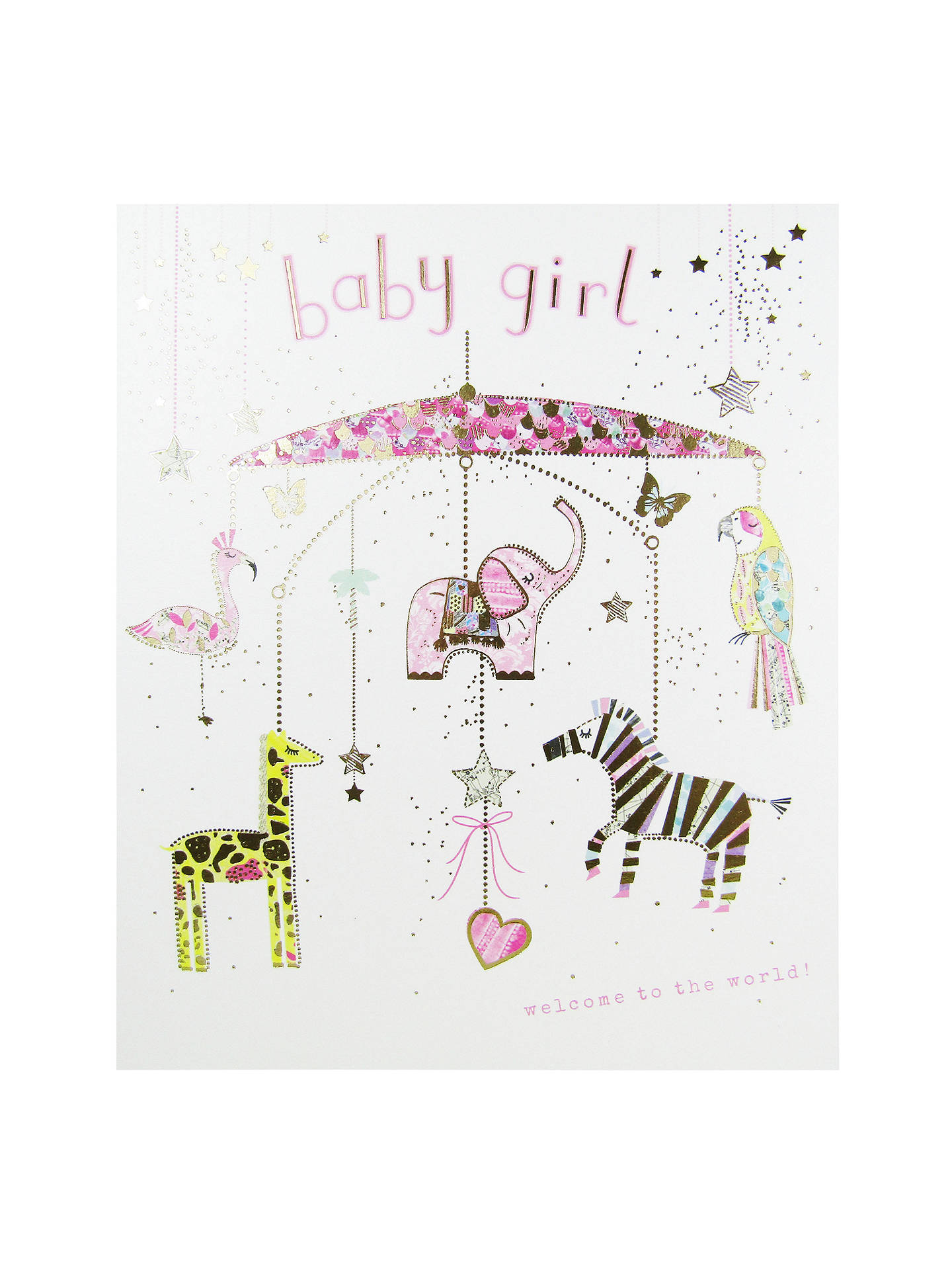 Woodmansterne Mobile Baby Girl Greeting Card At John Lewis Partners