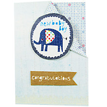 Buy Paper Salad Elephant New Baby Boy Card Online at johnlewis.com