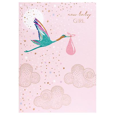 Sara Miller New Baby Girl Stork Greeting Card