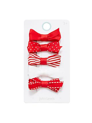 John Lewis & Partners Girls' Mixed Bow Clips, Pack of 5