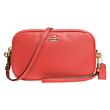 Buy Coach Leather Across Body Clutch Bag, Coral Online at johnlewis.com