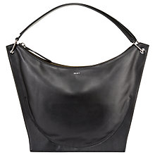 Buy DKNY Item Moulded Leather Hobo Bag, Black Online at johnlewis.com