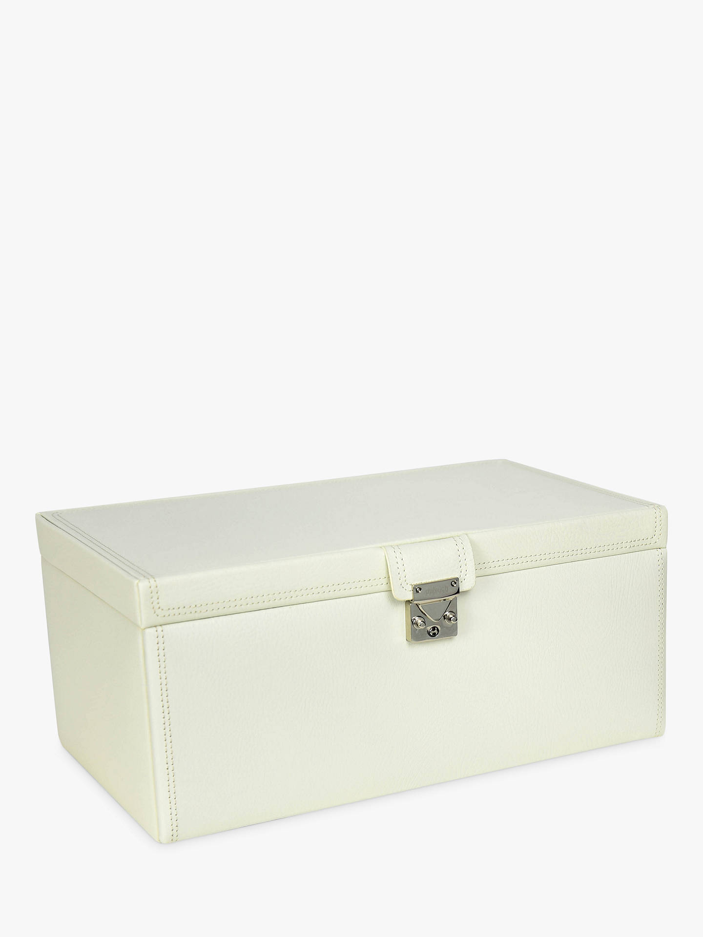 Dulwich designs extra large leather jewellery box in fawn colour