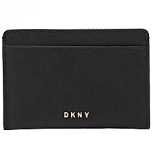 Buy DKNY Bryant Park Small Leather Card Holder, Black Online at johnlewis.com