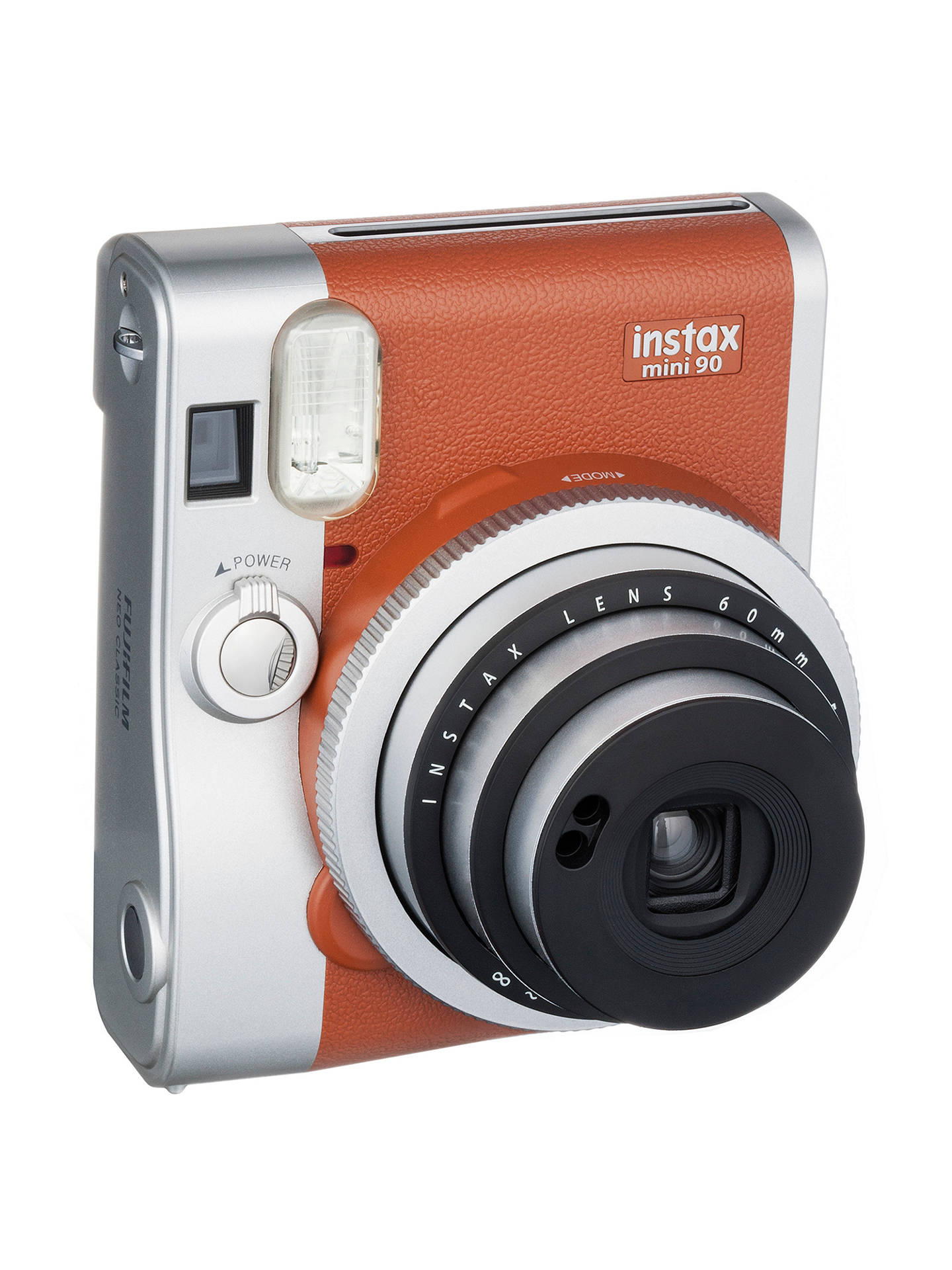 BuyFujifilm Instax Mini 90 Instant Camera with 10 Shots of Film, Built-In Flash & Hand Strap, Tan Online at johnlewis.com