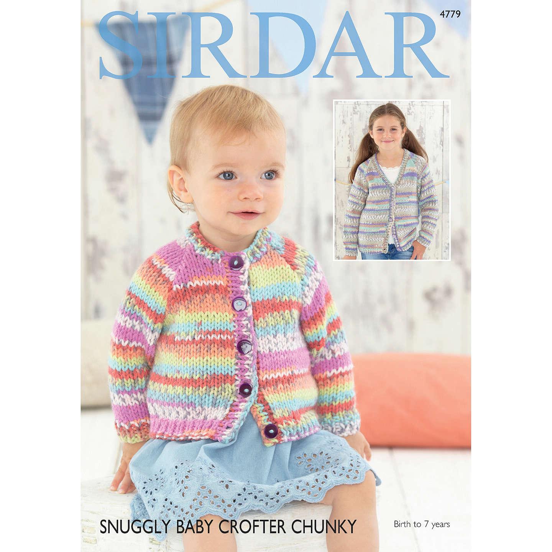 Sirdar Snuggly Baby Crofter Chunky Cardigan Knitting Pattern, 4779 ...