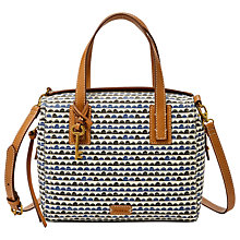 Buy Fossil Emma Satchel, Blue Print Online at johnlewis.com