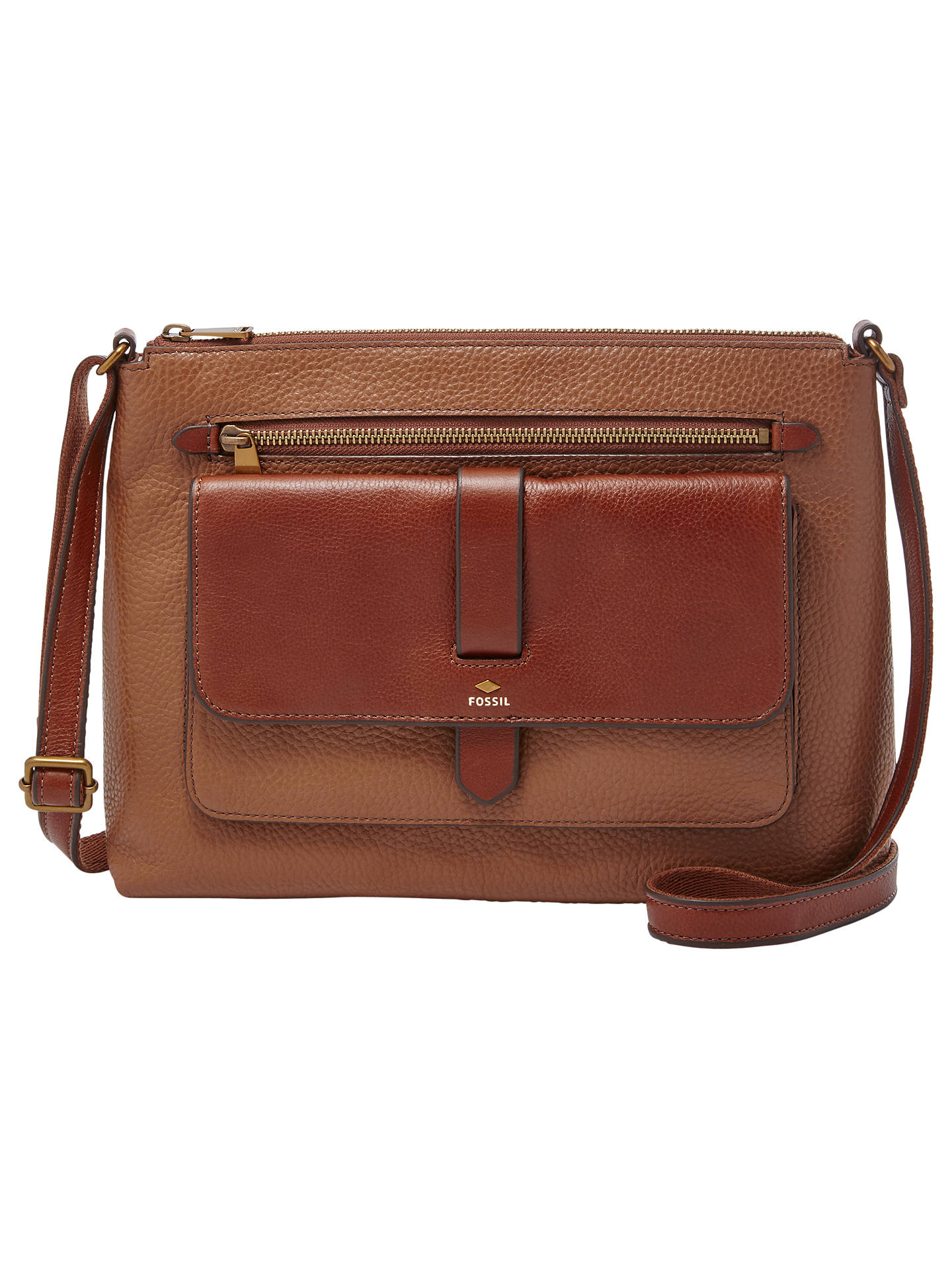 Fossil Kinley Leather Medium Cross Body Bag At John Lewis Partners Small Crossbody Brown Buyfossil Online