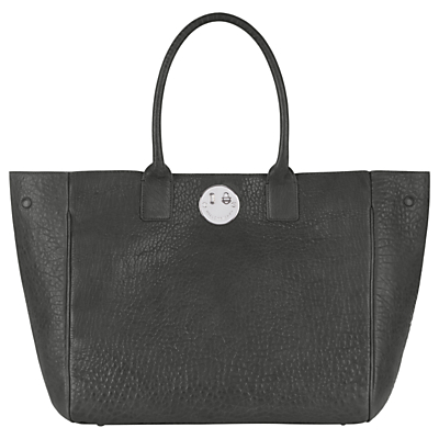 Hill and Friends Happy Leather Tote Bag, Mouse Grey