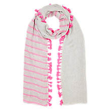 Buy Jigsaw Stripe Pom Pom Edge Scarf, Bright Pink Online at johnlewis.com