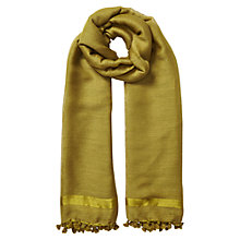 Buy East Silk Wool Pom Pom Scarf, Ochre Online at johnlewis.com