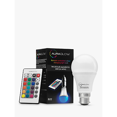 Auraglow 7W BC A60 LED Bulb and Remote Control, Multi